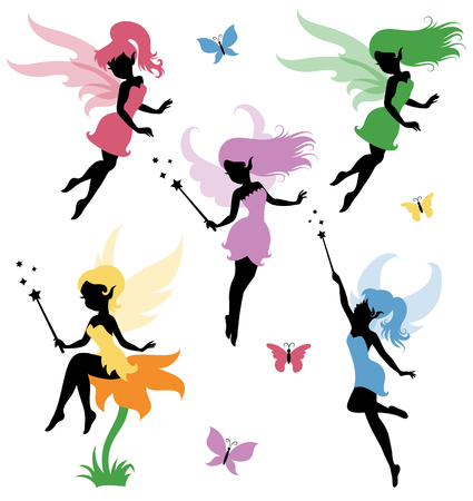 fairy cartoon: Collections of vector silhouettes of a fairy.
