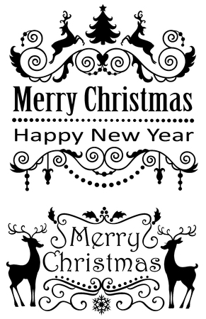 pine trees: Merry Christmas banners. Illustration