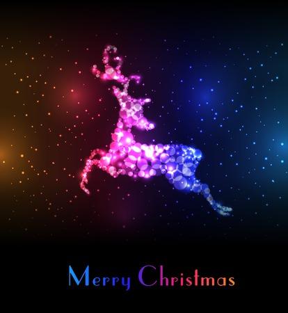 Christmas card with colorful reindeer. 向量圖像