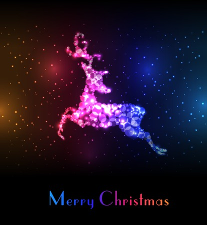 running reindeer: Christmas card with colorful reindeer. Illustration