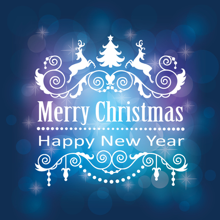Merry Christmas and Happy New Year card. Banco de Imagens - 45606654