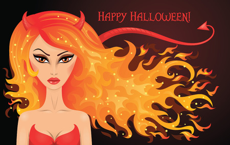 Vector illustration of a sexy devil with hair in a shape of fire.