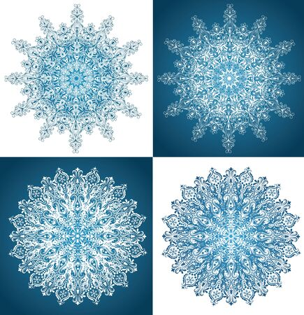 Set of snowflakes isolated on white and on blue.