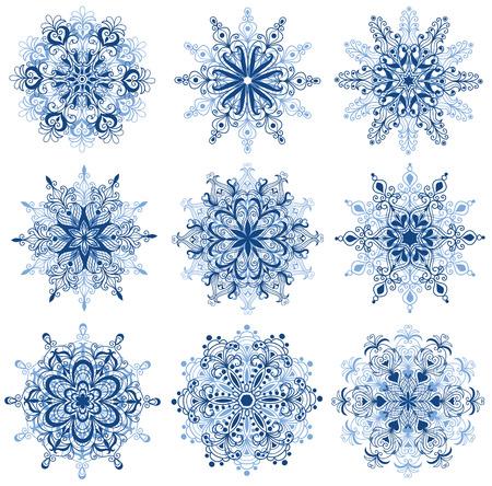 Set of snowflakes. Isolated on white.