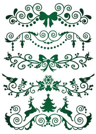 Set of christmas banners on green.