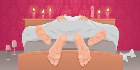 romantic sex: Couple having sex under sheets.