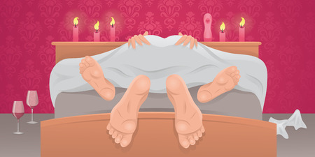 homosexual sex: Couple having sex under sheets.