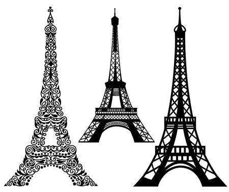 Set of Eiffel Tower.  Isolated on white. 向量圖像