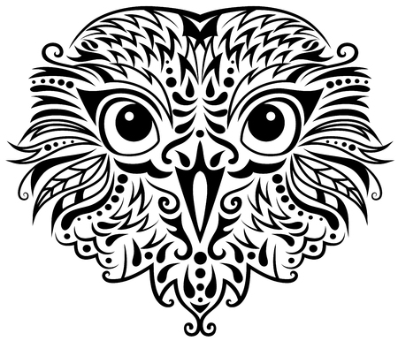 black and white image drawing: Head of an owl in tattoo style. Illustration