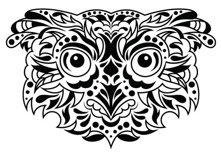 owl tattoo: Head of an owl in tattoo style. Illustration