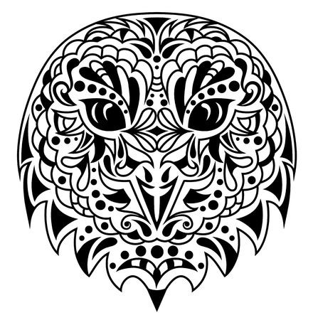 Head of an owl in tattoo style. Banco de Imagens - 55410405