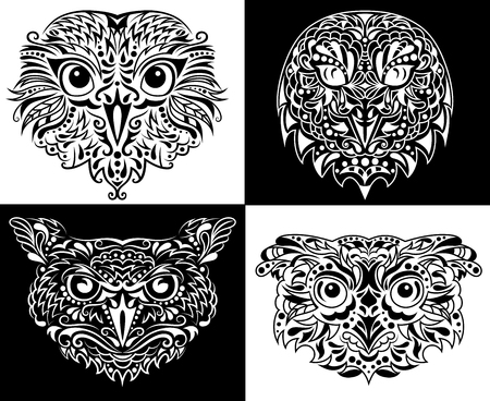 displeased: Head of an owl in tattoo style. Illustration