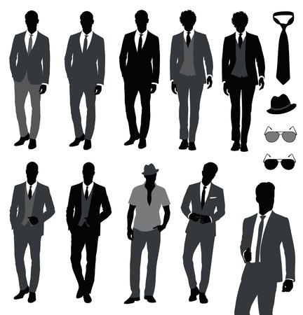 Conjunto de modelos varones moda. Ilustración de vector