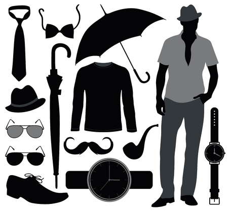 defile: Set of accessories for men. Stock Photo