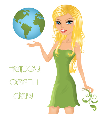 Eco-friendly woman holding the Earth.