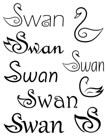 swans: Set of logo swans. Illustration