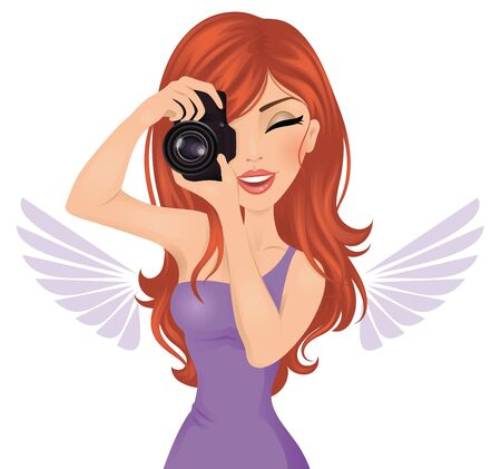redhair: Red-hair young photographer woman taking photos using reflex camera. Illustration