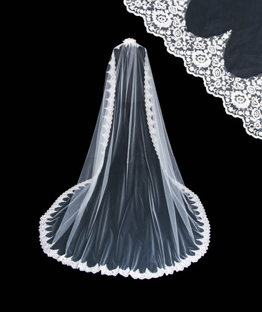 Isolated wedding white veil on a black background. Banco de Imagens - 71922942