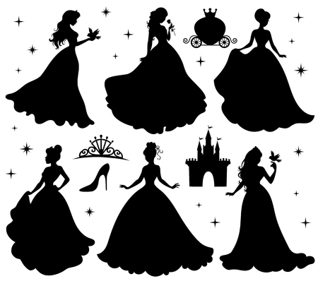 Set of silhouettes of princess. Isolated on white. Vettoriali