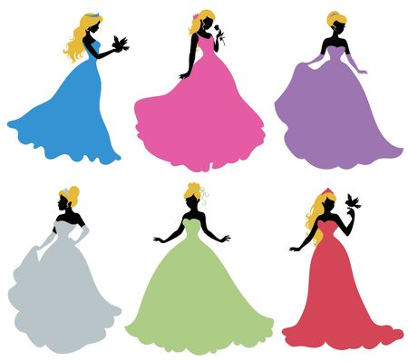 beauty queen: Set of silhouettes of princess. Isolated on white. Illustration