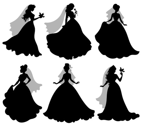 Set of silhouettes of brides with birds. Banco de Imagens - 72080903
