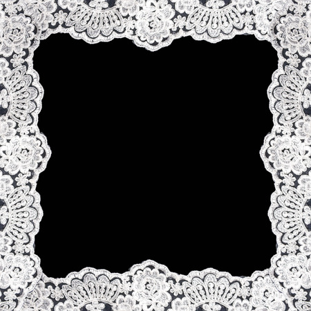 Invitation, greeting or wedding card with white lace on black background 版權商用圖片