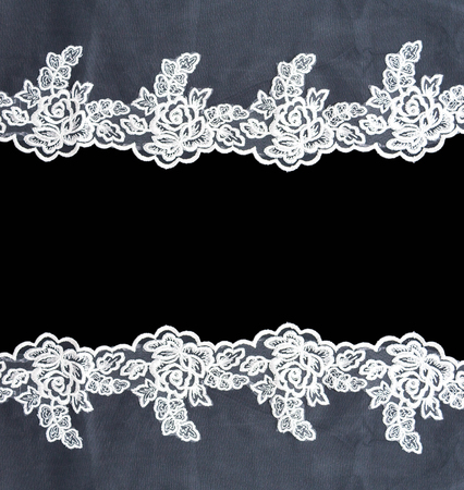 Invitation, greeting or wedding card with white lace on black background Banco de Imagens - 82060270