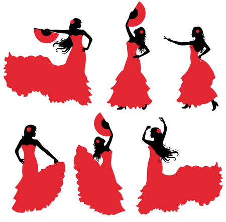 actress: Flamenco dancer silhouette set. Illustration
