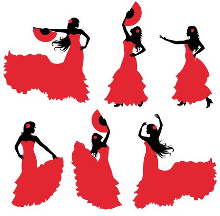 Flamenco danser silhouet set. Stock Illustratie