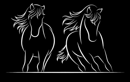 Silhouette of horse. Vector linear drawing.