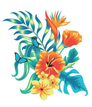 Set of tropical plants and birds. Banco de Imagens - 81861652