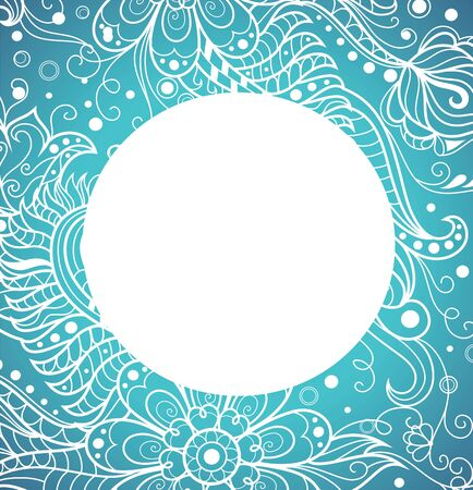 Circle with floral pattern on the blue background. Vector floral frame.