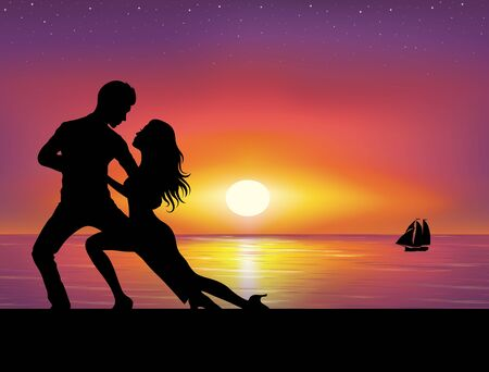 Silhouettes of couple dancing. Sunset on the background. 向量圖像