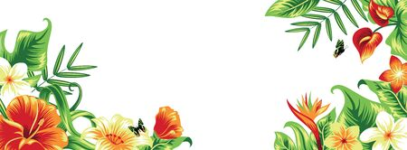 Banner with tropical leaves and flowers. Isolated on white.