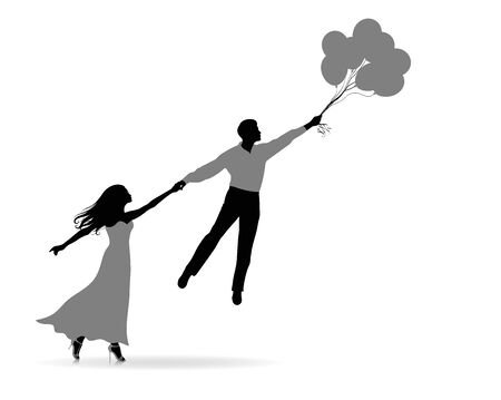 Silhouette of a woman holding a man. He is flying and holding balloons.