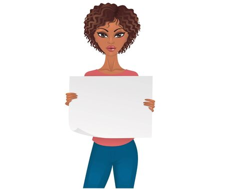 Cute afro-american woman holding an empty piece of paper. Ilustracja