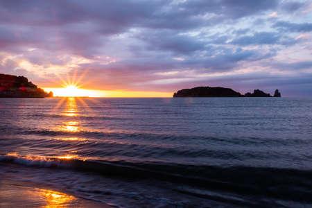 Beautiful sunset at seaside. Beautiful nature background.