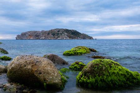 Beautiful sky and rocks at seaside. Beautiful nature background. Stock fotó