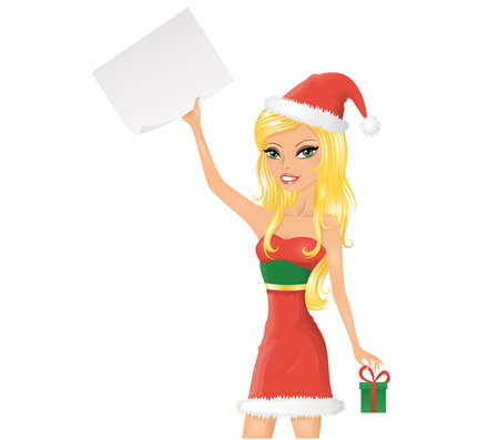 Cute christmas girl with a paper. Isolated on white.