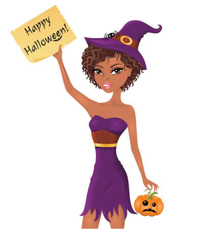 Cute afro-american witch holding a piece of paper with happy halloween text.