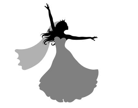 Princess bride silhouettes are dancing. Isolated on white.