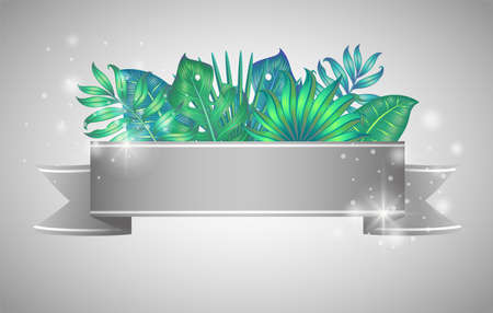 Banner with different tropical leaves isolated on white. Vector illustration.