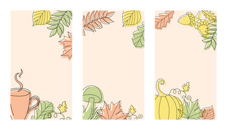 Three different vertical autumn backgrounds in linear style with a mushroom, a pumpkin, a cup and some leaves.