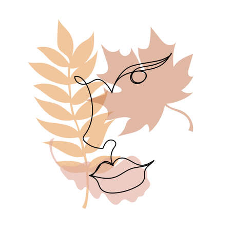 Continuous black line of a womans face with colorful autumn leaves. Vettoriali