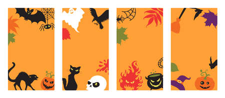 Backgrounds with halloween details on the orange.