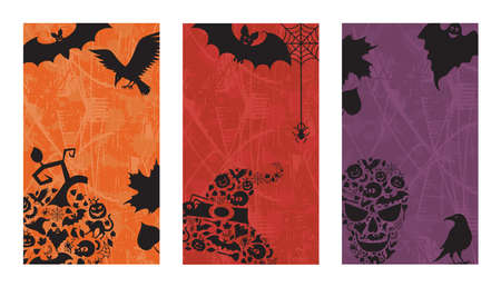 Three vertical backgrounds with halloween black details.