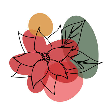 Christmas flower in a hand drawn linear style.