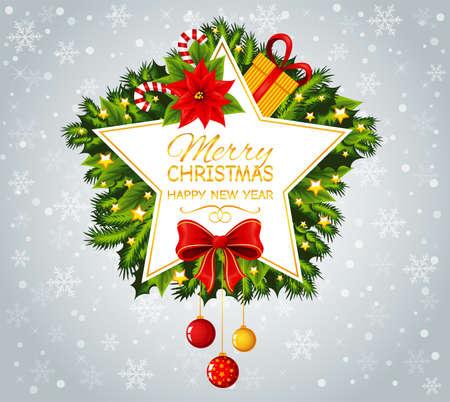 Shape of a star with Merry Christmas text. Vektorgrafik