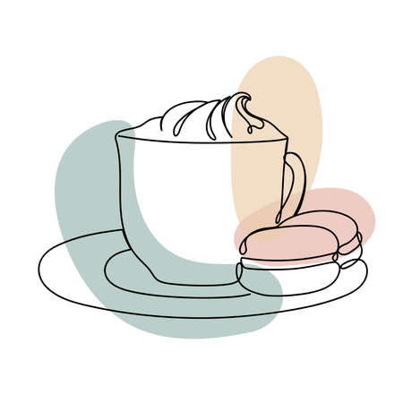 Cup with a cream in a linear style.