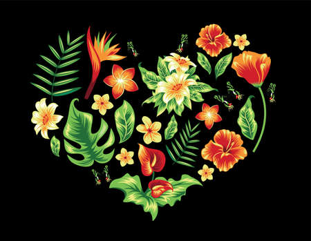 Heart with tropical leaves and flowers on black.